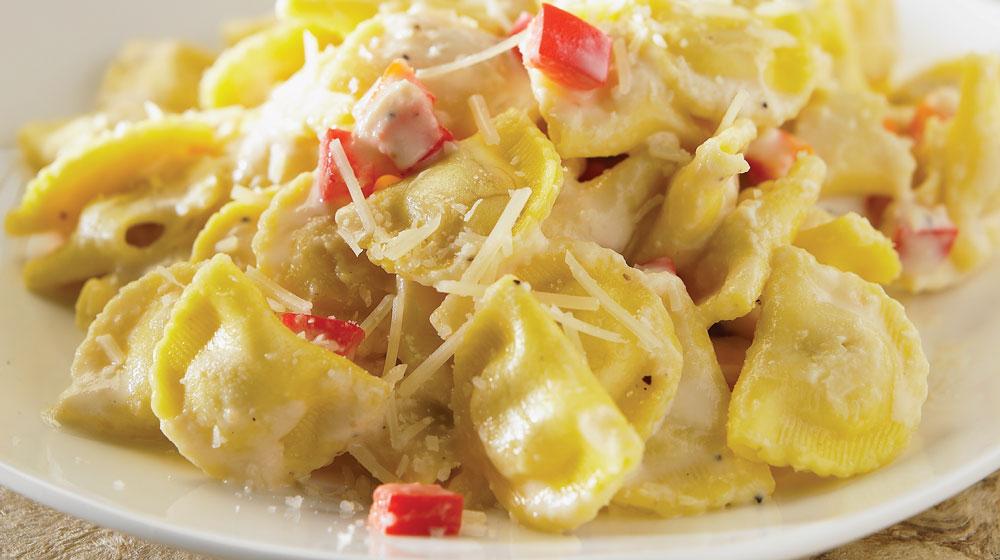 ravioles con salsa de queso