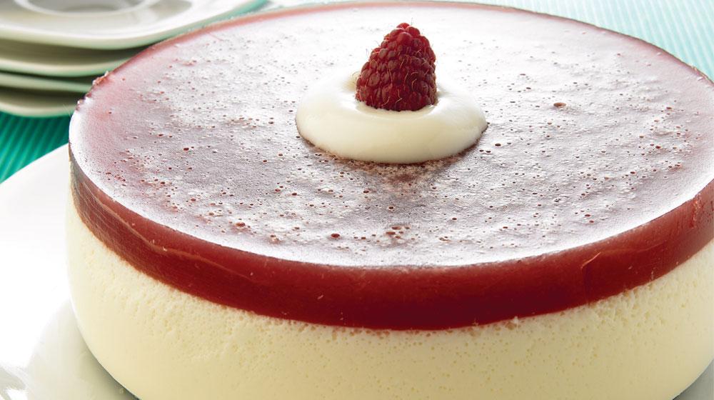 gelatina de yogur y frambuesa