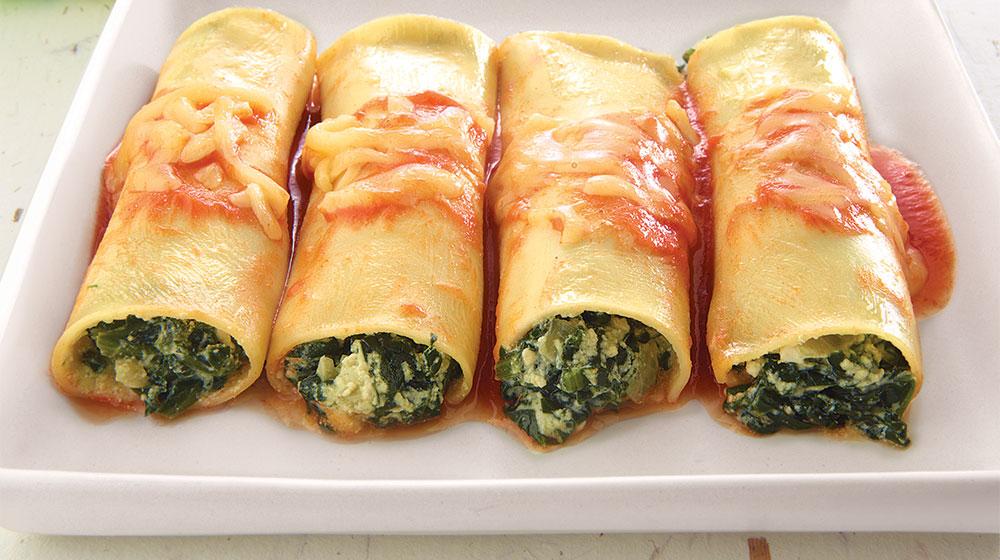 Canelones de espinacas con Ricotta