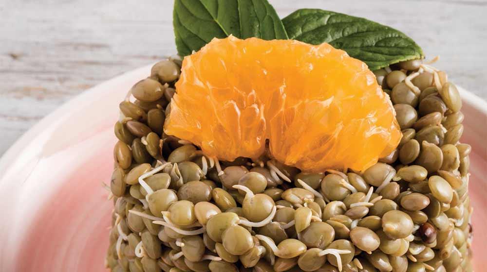 Ensalada de lentejas con naranja y menta