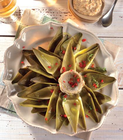 Alcachofas con salsa cremosa de queso y mostaza