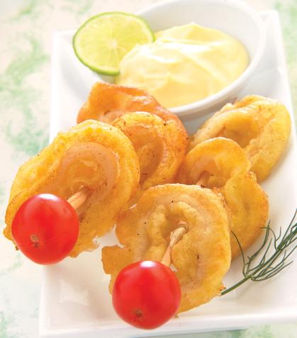 Aros de calamar fritos