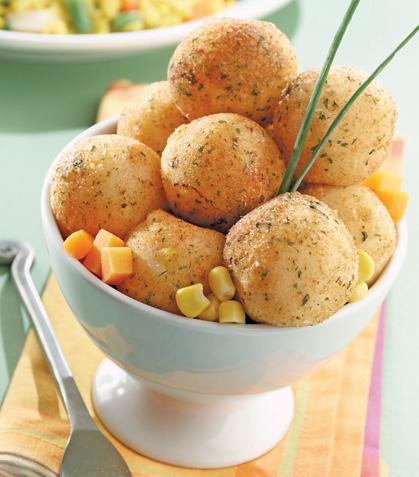 Bolitas de elote con zanahorias