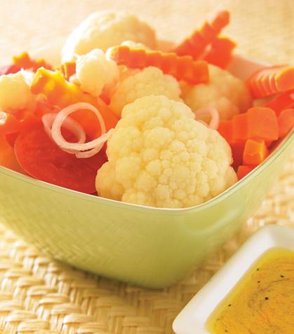 Coliflor y zanahoria con vinagreta a la mostaza