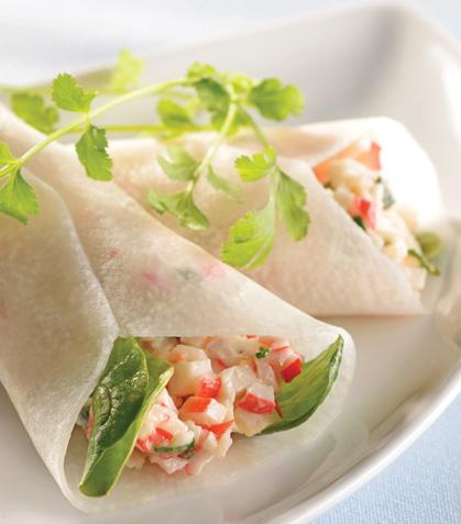 Conitos de jícama con surimi