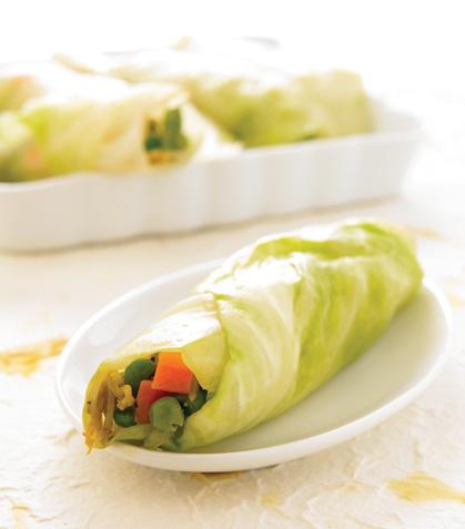 Costales de col con vegetales