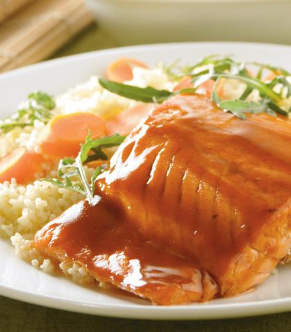 Couscous con salmón a la miel y jenjibre