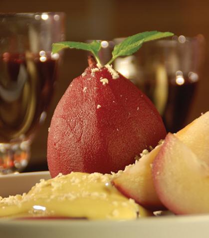 Cuarterones de pera con natilla de vainilla