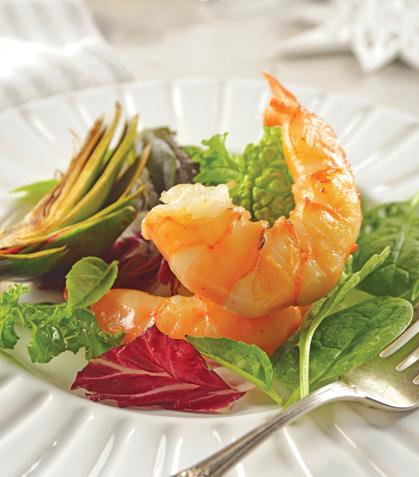 Ensalada de alcachofa con camarón