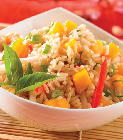 Ensalada de arroz integral tropical