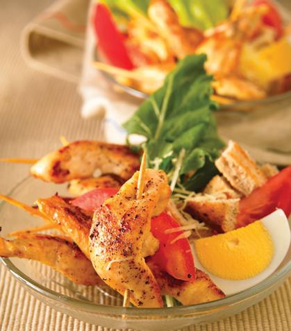 Ensalada de banderillas de pollo a la vinagreta