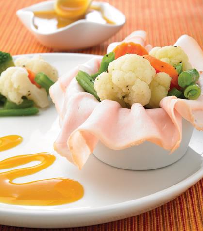 Envolturas de jamón con verduras