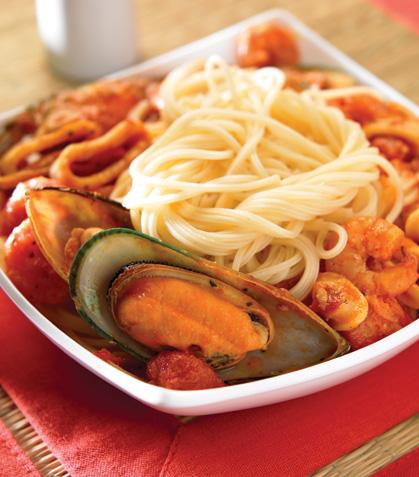 Espagueti con mariscos