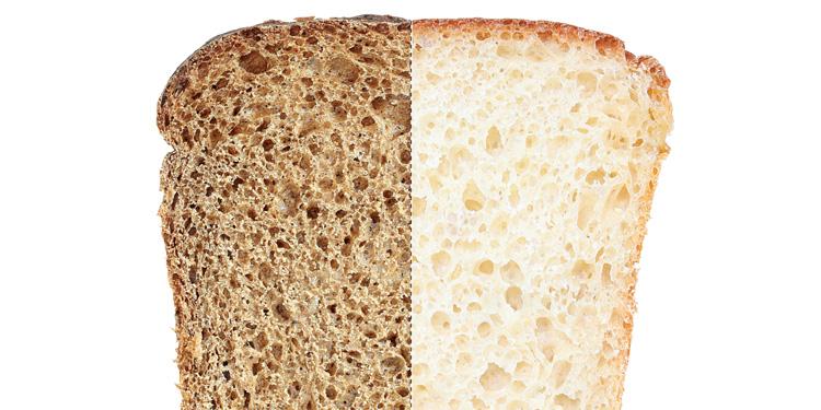 La diferencia entre el pan blanco e integral
