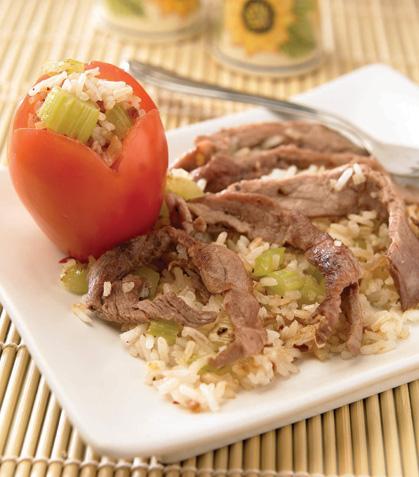 Fajitas con arroz