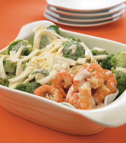 Gratín de brócoli con camarones en salsa blanca