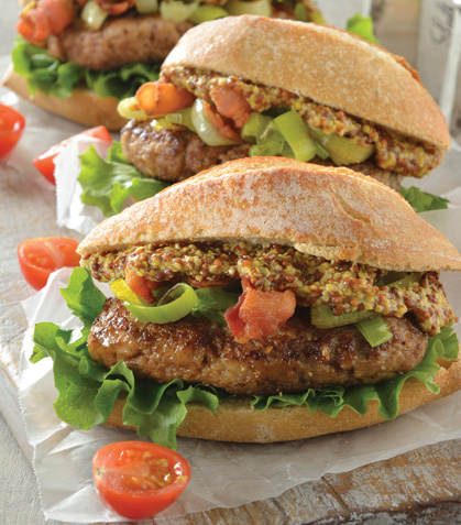 Mini hamburguesa en chapata con salsa de mostaza