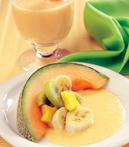 Mousse de durazno y melón