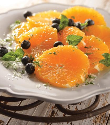 Naranjas con azúcar de menta y cilantro