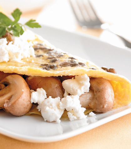Omelette con lentejas y queso