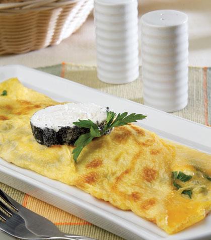 Omelette de queso de cabra y perejil