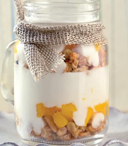 Parfait de yogur con mango