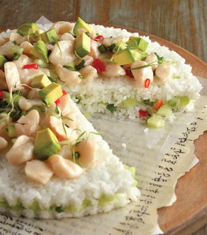 Pastel de sushi con callo de almeja