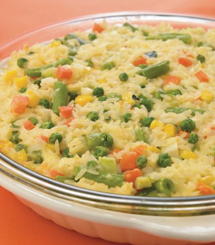 Pay de vegetales con arroz