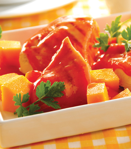 Pollo con chipotle y mango