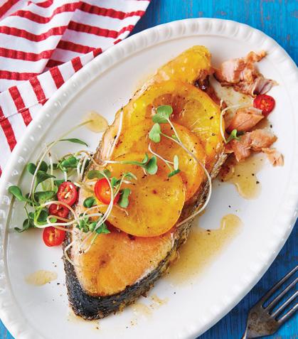 Posta de salmón con naranja