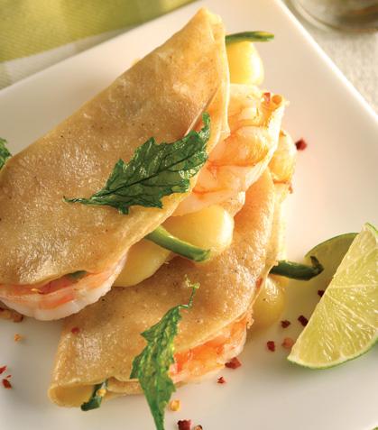 Quesadillas de camarón con queso