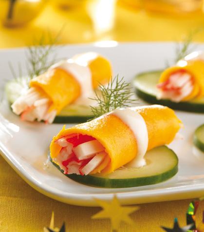 Rollitos de mango con salsa de limón