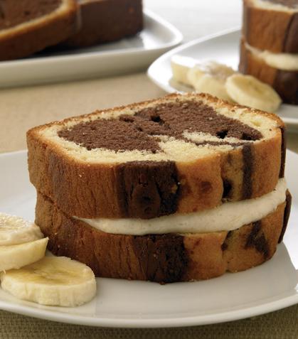 Sándwich de panqué con plátano