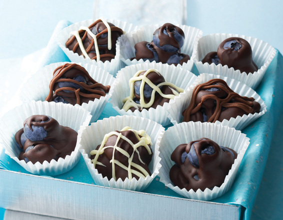 Clusters de blueberries con chocolate