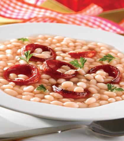 Sopa de alubias con vino blanco y chorizo