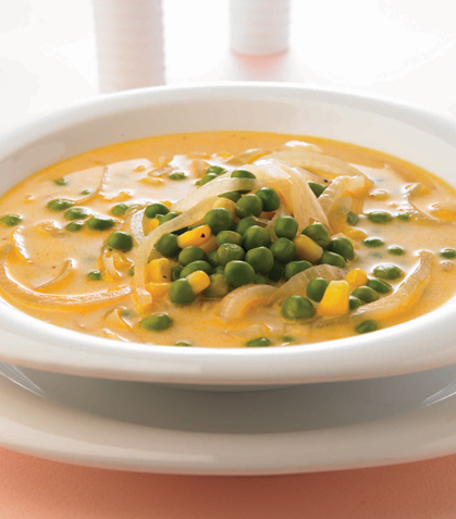 Sopa de chícharo encebollada