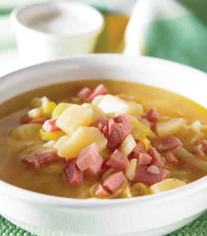 Sopa de papa con poro y jamón