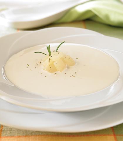 Sopa de requesón con pera
