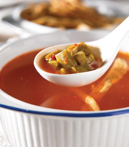 Sopa de tortilla con nopal