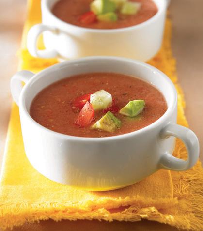 Sopa fría de jitomate y pepino