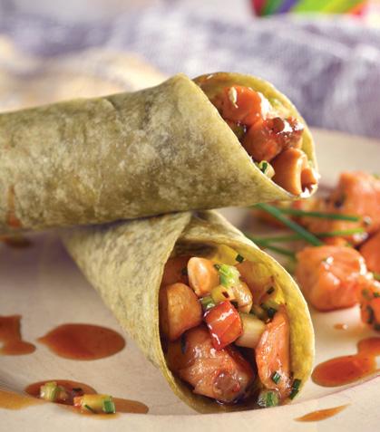 Tacos de salmón teriyaki