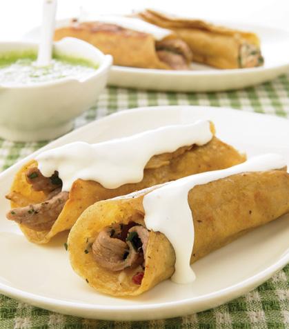 Tacos dorados de ternera con tocino