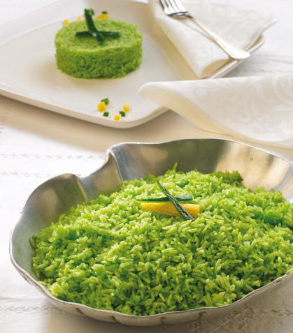 Timbales de arroz verde