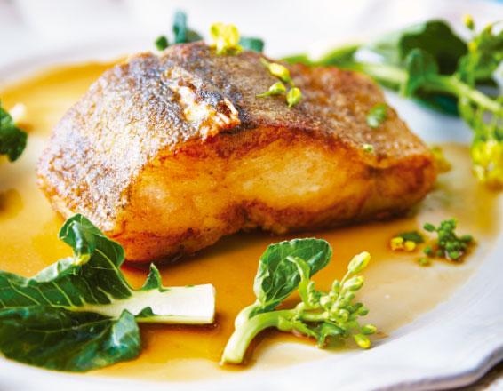 Bacalao con salsa de miel y soya