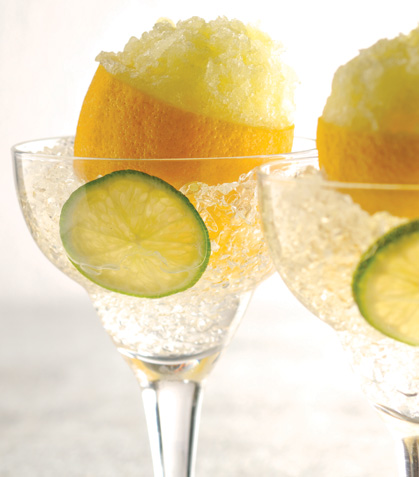 Granita ácida en limones amarillos