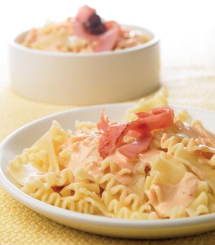 Pasta con salsa de jamón