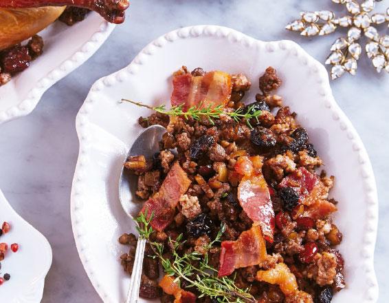 Relleno de carne con pasas y miel de maple