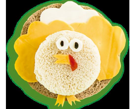 Sándwich en forma de avestruz