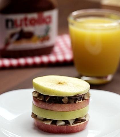 Sándwich de manzana con Nutella