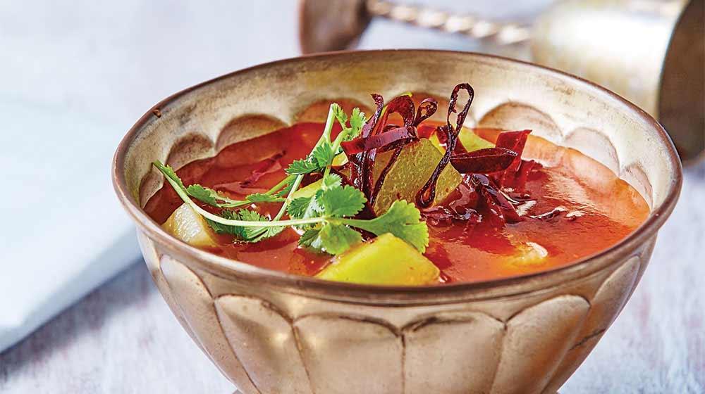 sopa de chayote con guajillo
